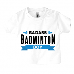 t-shirt garçon impression Badass badminton boy
