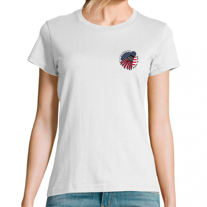 T-shirt femme logo badminton made in USA