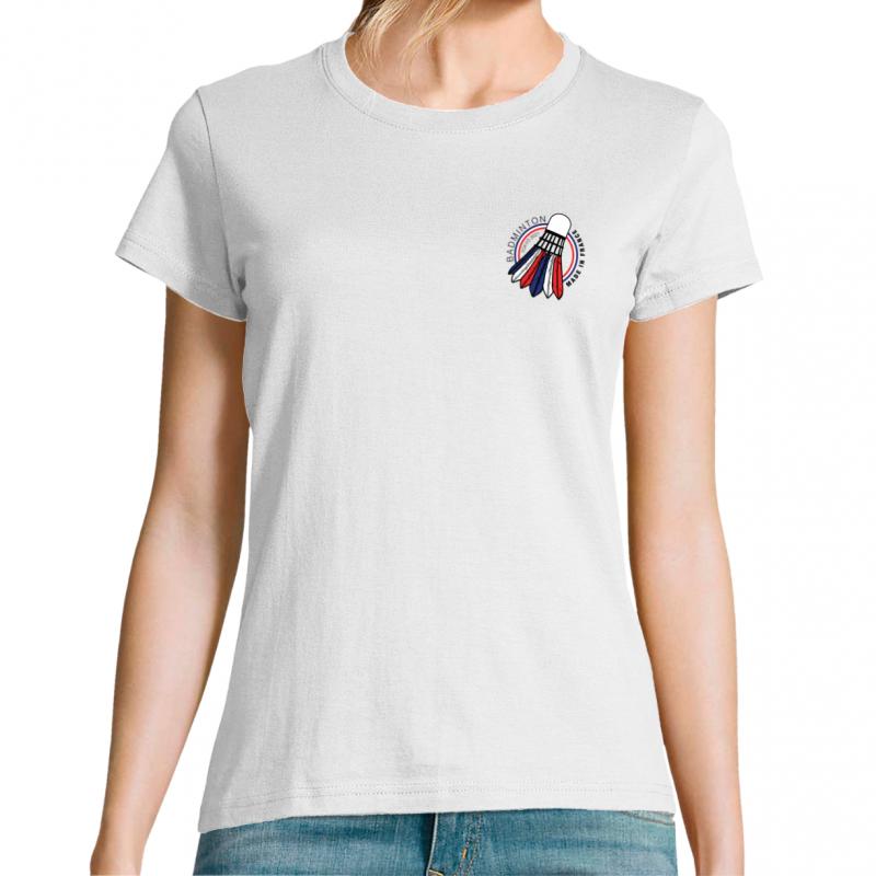 T-shirt femme avec logo poitrine badminton made in france. Tokyo 2021
