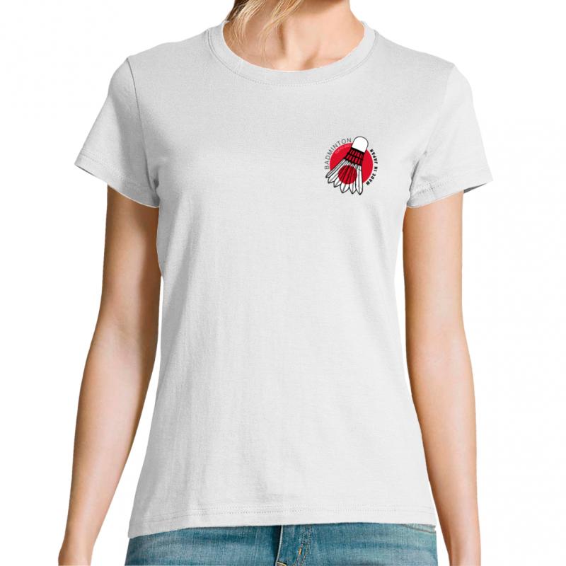 T-shirt femme logo poitrine, badminton made in Japan, Tokyo 2021